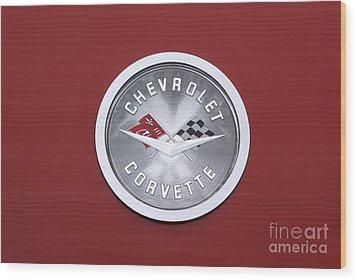 Corvette Emblem Wood Print by Neil Zimmerman