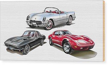 Wood Print featuring the digital art Corvette Generation by Thomas J Herring