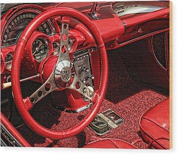 Corvette Wood Print by Nancy De Flon