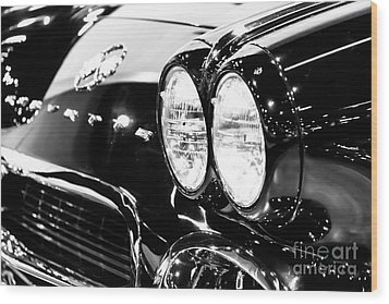 Corvette Picture - Black And White C1 First Generation Wood Print by Paul Velgos