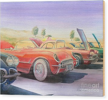 Corvette Show Wood Print by Robert Hooper