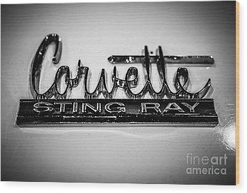 Corvette Sting Ray Emblem Wood Print by Paul Velgos