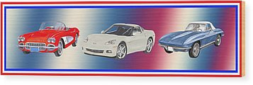 Corvettes In Red White And True Blue Wood Print by Jack Pumphrey