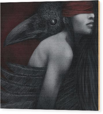 Wood Print featuring the painting Corvidae by Pat Erickson