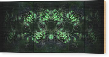 Cosmic Alien Eyes Green Wood Print by Shawn Dall