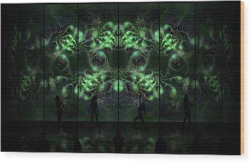 Cosmic Alien Vixens Green Wood Print by Shawn Dall