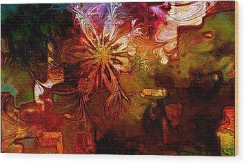 Cosmic Bloom Wood Print by Amanda Moore
