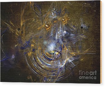 Wood Print featuring the painting Cosmic Bubbles by Alexa Szlavics