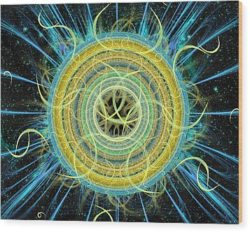 Cosmic Circle Fusion Wood Print by Shawn Dall