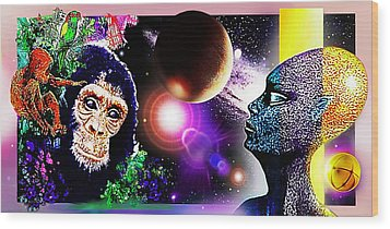 Wood Print featuring the digital art Cosmic Connected Citizens  by Hartmut Jager