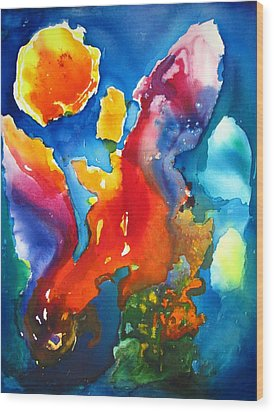 Cosmic Fire Abstract  Wood Print by Carlin Blahnik