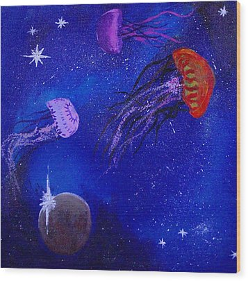 Cosmic Jellyfish  Wood Print by Andy Lawless