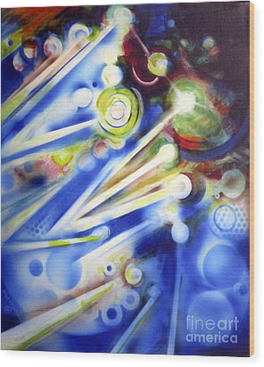 Cosmic Orbs #7 Wood Print by Yael Avi-Yonah