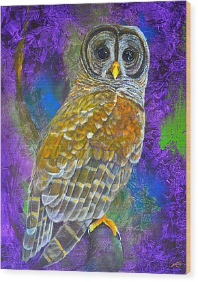 Cosmic Owl Wood Print by AnnaJo Vahle