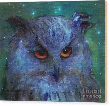 Cosmic Owl Painting Wood Print by Svetlana Novikova