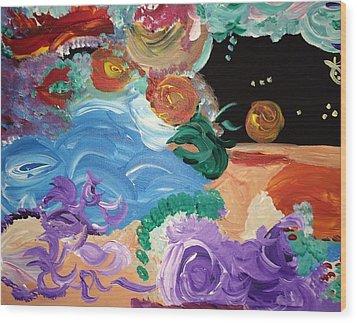Cosmic Party People Wood Print by Nicki La Rosa