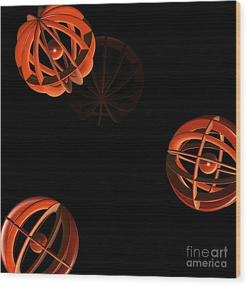 Cosmic Pumpkins By Jammer Wood Print by First Star Art