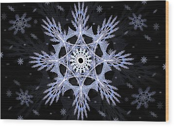 Cosmic Snowflakes Wood Print by Shawn Dall