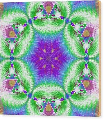 Cosmic Spiral Kaleidoscope 10 Wood Print by Derek Gedney