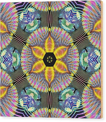 Cosmic Spiral Kaleidoscope 13 Wood Print by Derek Gedney