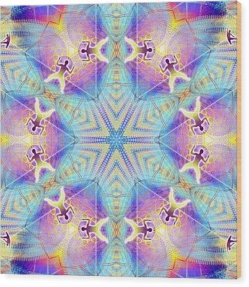 Cosmic Spiral Kaleidoscope 17 Wood Print by Derek Gedney