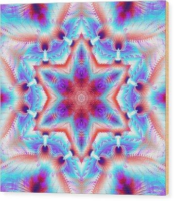 Cosmic Spiral Kaleidoscope 45 Wood Print