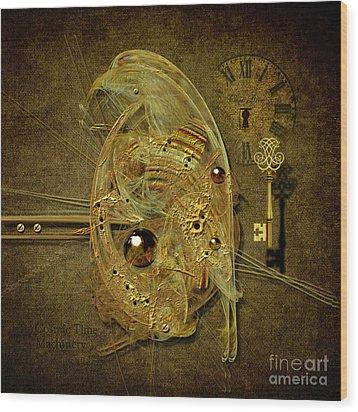 Wood Print featuring the digital art Cosmic Time Egg by Alexa Szlavics
