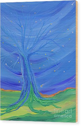 Wood Print featuring the painting Cosmic Tree by First Star Art