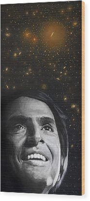 Cosmos- Carl Sagan Wood Print by Simon Kregar