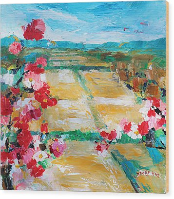 Cosmos In The Field 2 Wood Print by Becky Kim