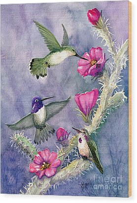 Costa Hummingbird Family Wood Print