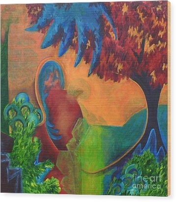 Wood Print featuring the painting Costa Mango by Elizabeth Fontaine-Barr