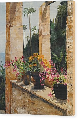 Wood Print featuring the painting Costa Rica Floral by Alan Lakin