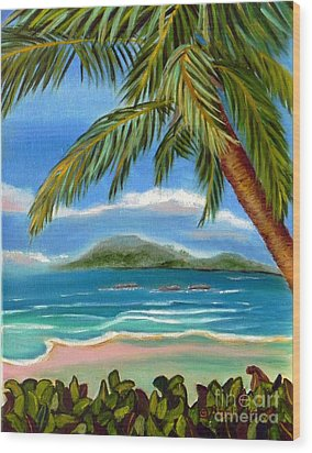 Wood Print featuring the painting Costa Rica Highs   Costa Rica Seascape Mountains And Palm Trees by Shelia Kempf