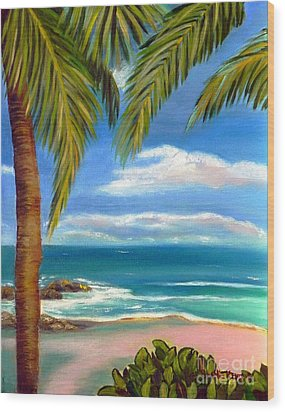Wood Print featuring the painting Costa Rica Rocks   Costa Rica Seascape  by Shelia Kempf