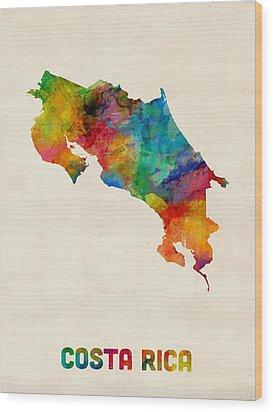 Costa Rica Watercolor Map Wood Print by Michael Tompsett
