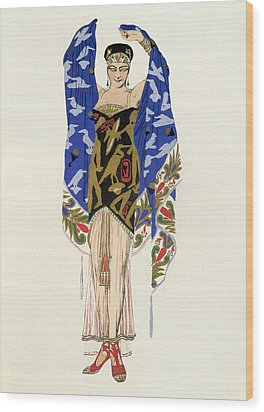 Costume Design For A Dancing Girl Wood Print by Leon Bakst