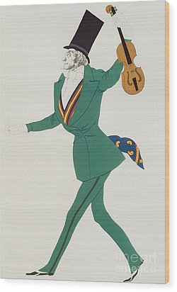 Costume Design For Paganini In The Enchanted Night Wood Print