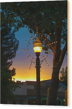 Wood Print featuring the photograph Cotati Lights by Jan Davies