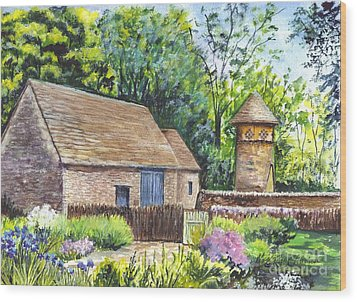 Cotswold Barn Wood Print by Carol Wisniewski