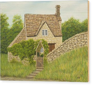 Cotswold Cottage Wood Print by Rebecca Prough