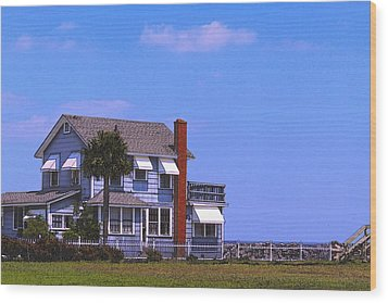 Wood Print featuring the photograph Cottage Blue by Laura Ragland