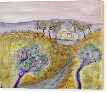 Cottage By The Purple Trees Wood Print