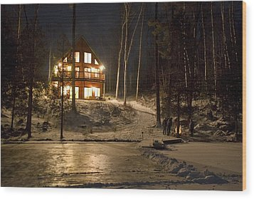 Cottage Country - Winter Wood Print by Pat Speirs