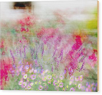 Wood Print featuring the photograph Cottage Garden Impressionism by Linde Townsend