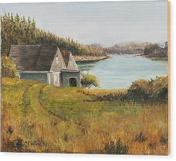 Wood Print featuring the painting Cottage Glow by Cindy Plutnicki