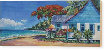 Cottage On 7-mile Beach Wood Print by John Clark