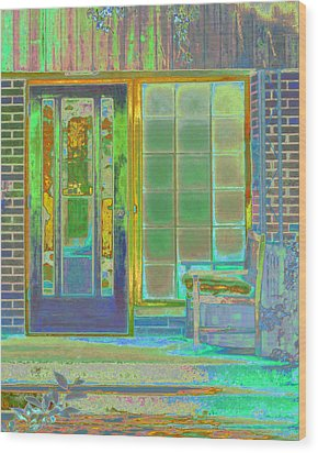 Cottage Porch Wood Print by Don and Judi Hall