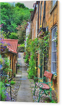 Cottage Row Wood Print by Dave Woodbridge