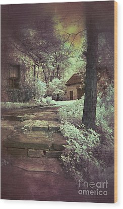 Cottages In The Woods Wood Print by Jill Battaglia